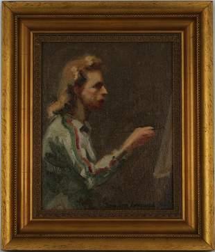 Edward Leonard (1901 - 1968) Artist Self Portrait