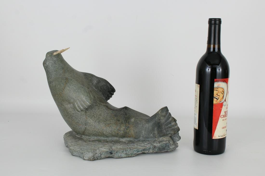 Large Carved Stone Walrus Inuit Figure