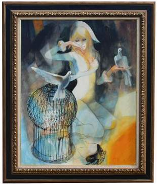 """Signed 20th C. French """"L'Envol"""" Painting"""
