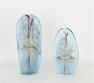 (2) Bill Slade Art Glass Sculptures