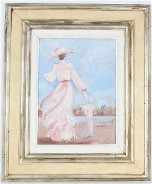 Signed, 20th C. Painting of an Elegant Woman