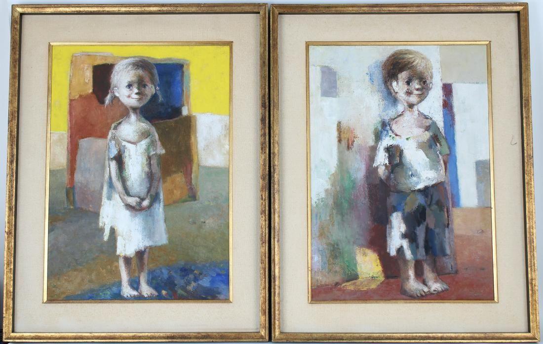 (2) Jose Montanes (Spain, 1918-1998) Boy & Girl