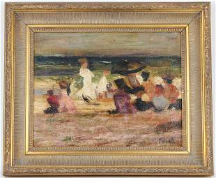 """Mary Mulvihill, """"Outing at the Beach"""" Oil Painting"""