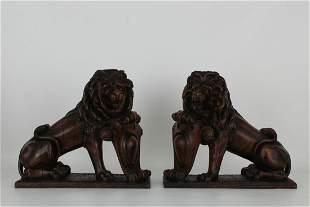 (2) Antique English Carved Oak Lions
