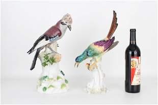(2) Antique Porcelain Bird Figures, Signed
