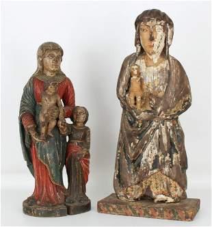 (2) Antique Carved Spanish Santos Figures