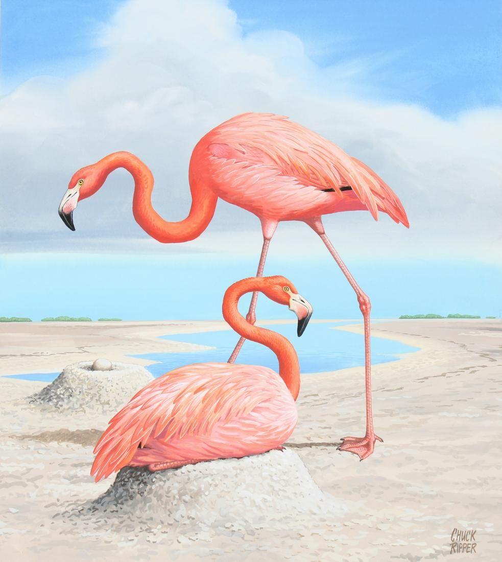 "Chuck Ripper (B. 1929) ""Two Flamingos"""