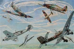"Brian Sanders (B. 1937) ""Battle of Britain"" Oil"