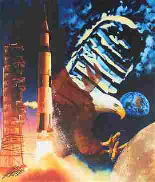 """Ed Little (B 1957) """"20th Ann. of Moon Landing"""" Oil"""