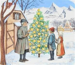 """Charles Berger (1922-2012) """"The Fir Tree"""" Original"""