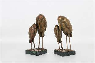 (2) Mixed Metal Bird Sculptures on Marble Base