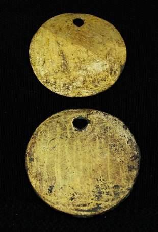 Pair Moche Mantle Orrnaments - Peru, 400 - 700 AD