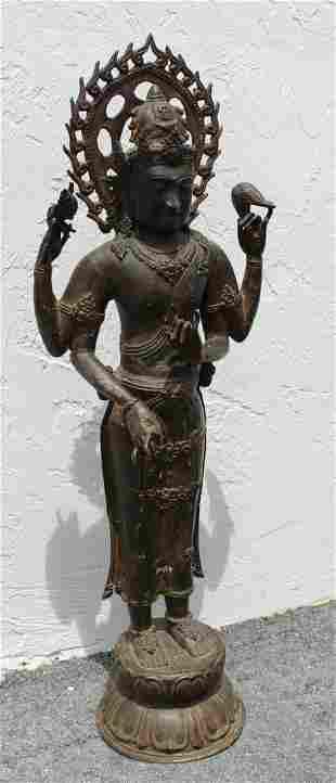 Large Antique Bronze Southeast Asian Figure