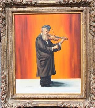 Abraham Straski (1903 - 1987) Jewish Man w/ Violin