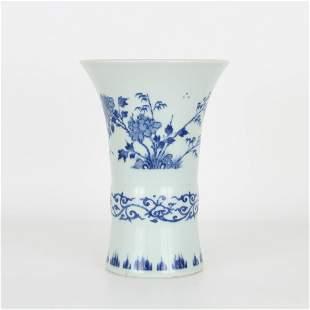 Blue/White Gu Form Chinese Vase, Ming