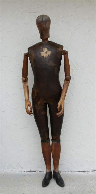 Signed, Rare 19th C. French Articulated Mannequin