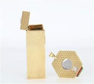 Rare Asprey of London Gold Cigar Cutter & Lighter