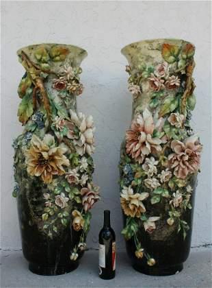 Pair of Palatial Floral Majolica Vases
