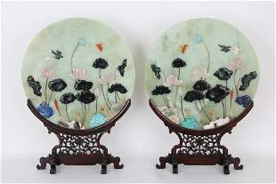 (2) Large Chinese Jade/Applied Stone Screens
