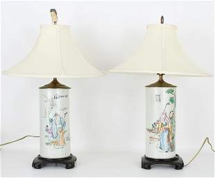 (2) Republic Period Chinese Porcelain Lamps