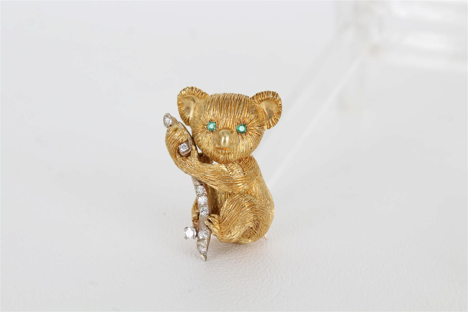 Koala Bear Diamonds & Emerald 18k Gold Brooch Pin