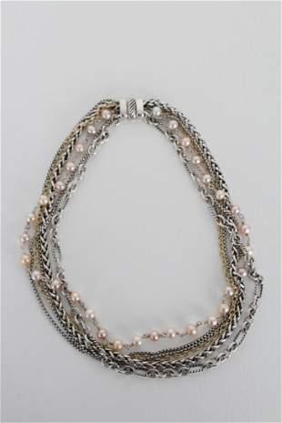 David Yurman Multi Strand Precious Metal Necklace