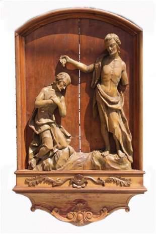 Antique European Carved Wood Figure Baptizing
