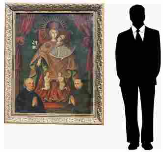 Monumental 18th C. Spanish Colonial Painting