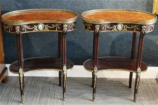 Pair of Bronze Mounted Kidney Shaped Side Tables