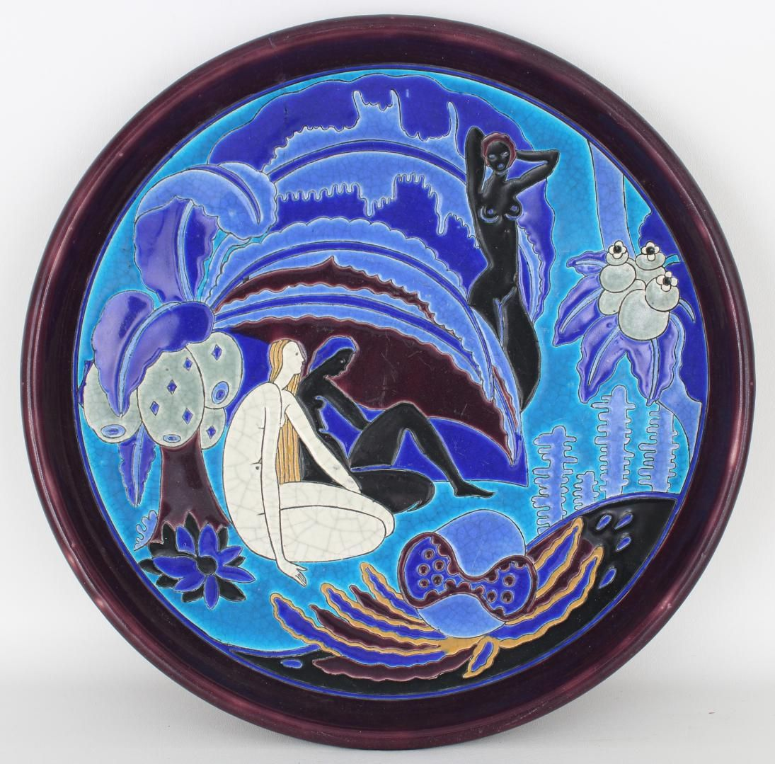 Longwy For Primavera Large Art Deco Charger