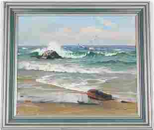 Signed, American School Seascape Painting