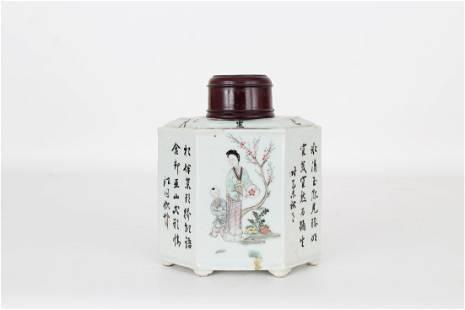 Antique Chinese Glazed Porcelain Tea Caddy