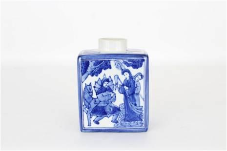Chinese Blue/White Glazed Porcelain Tea Caddy