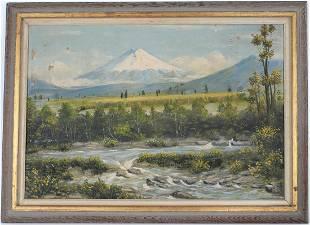 American School, 20th C. Mountainous Landscape