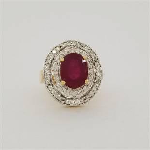 14K Gold Ruby & Diamond Cluster Ring