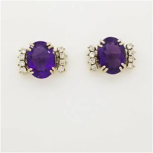 14K Gold Amethyst & Diamond Earrings