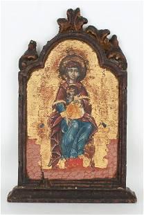 "17th C. Italo-Greek Icon, ""Virgin and Child"""