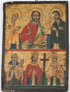 18th C. Greek Provincial Icon, Christ with Virgin