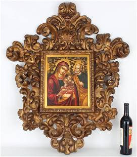 Russian Icon, Large Elaborately Carved Frame