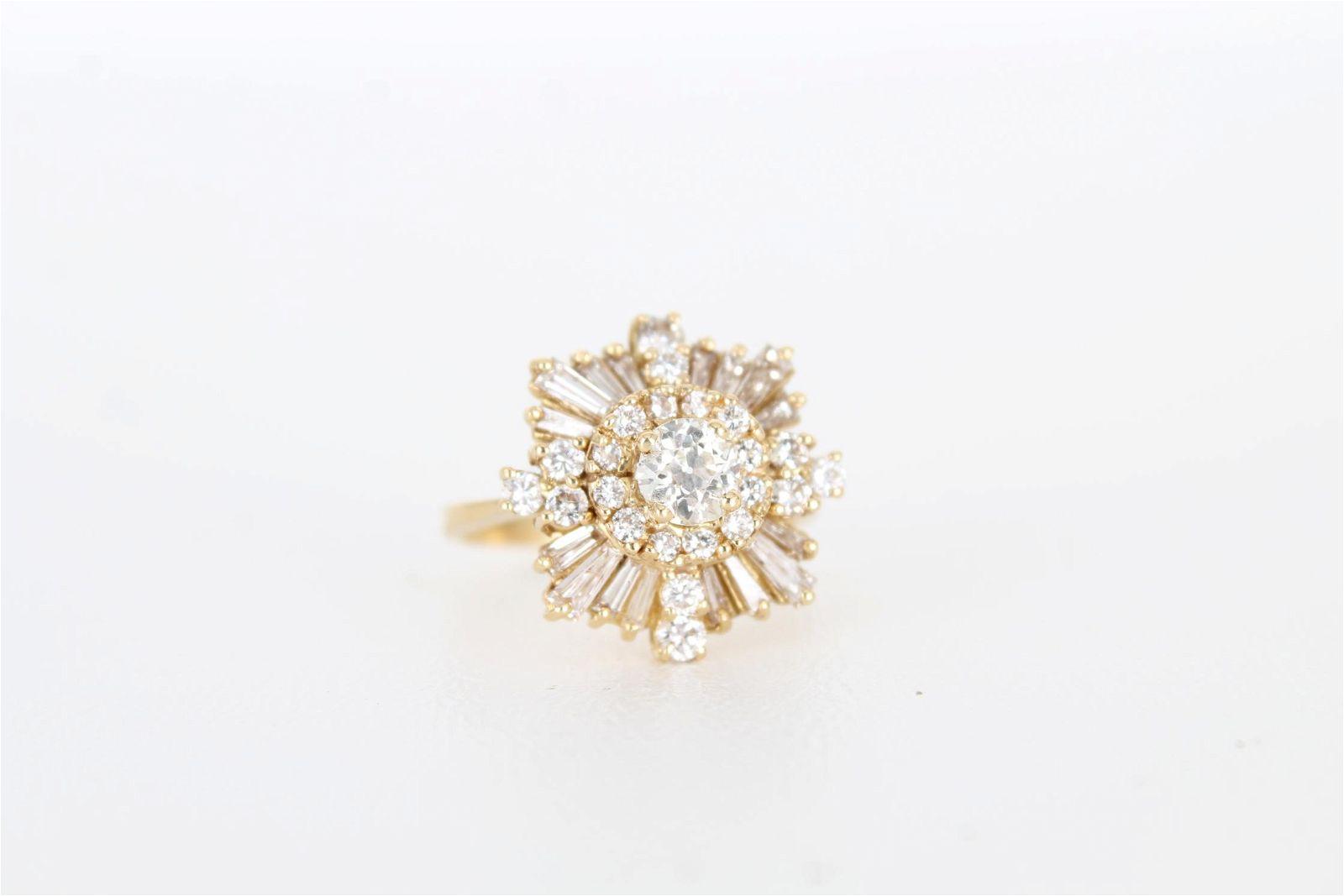 18K Gold & Diamond Cluster Ring