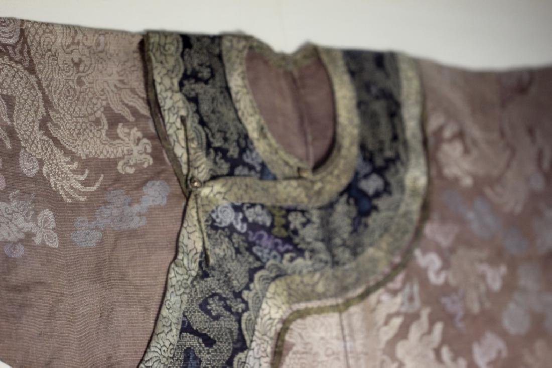 A Rare Magnificent Framed Chinese Dragon Robe. - 15