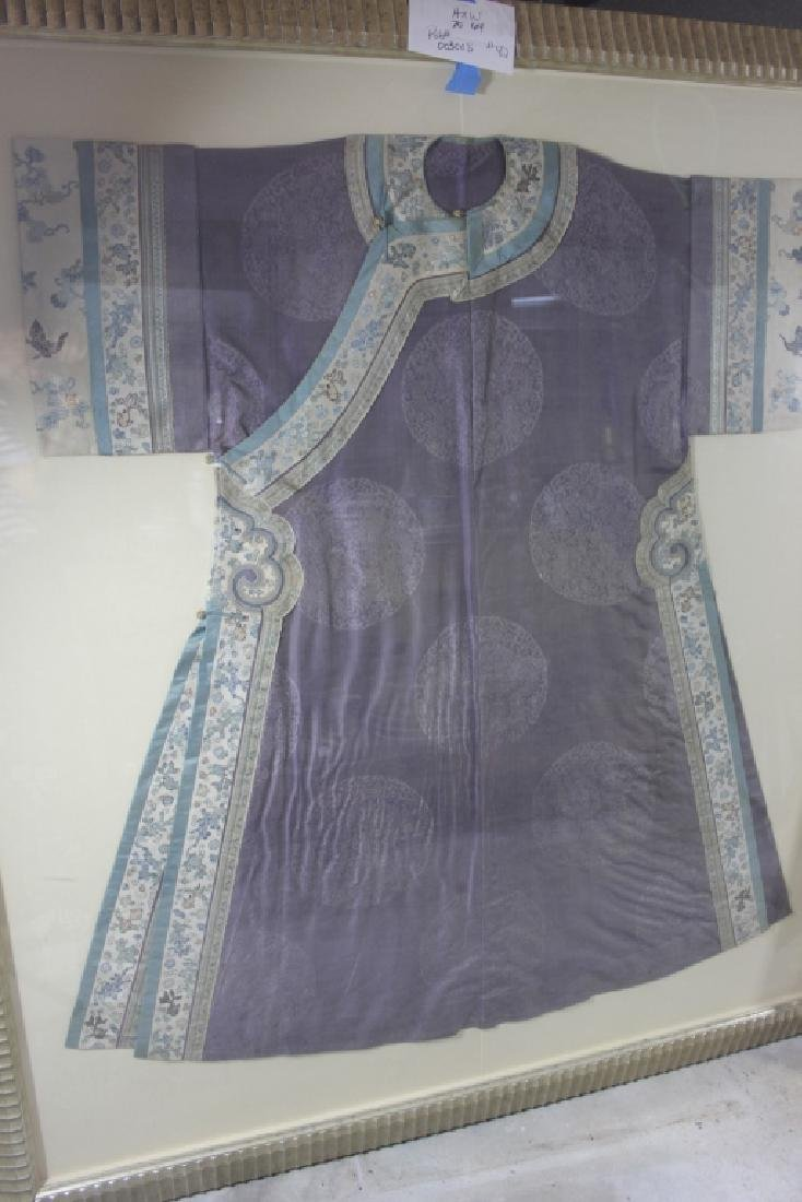 A Rare Magnificent Framed Chinese Dragon Robe.