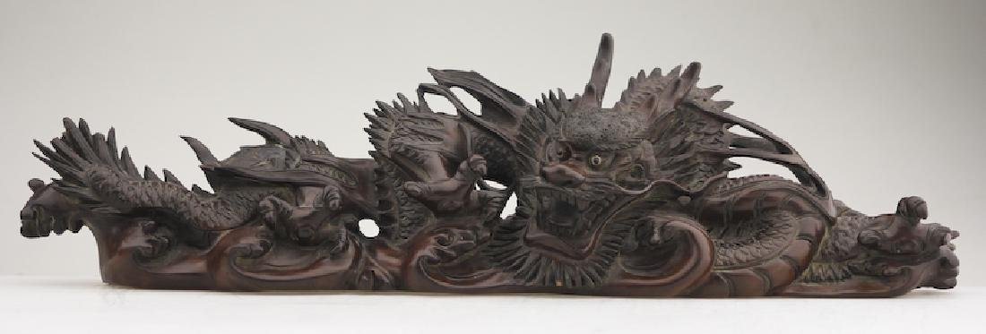 A Superb Wood Carved Dragon on a Base - 2