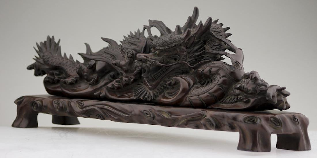 A Superb Wood Carved Dragon on a Base - 4