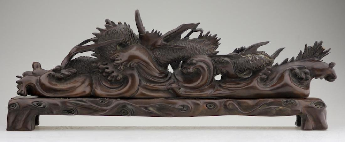A Superb Wood Carved Dragon on a Base - 6