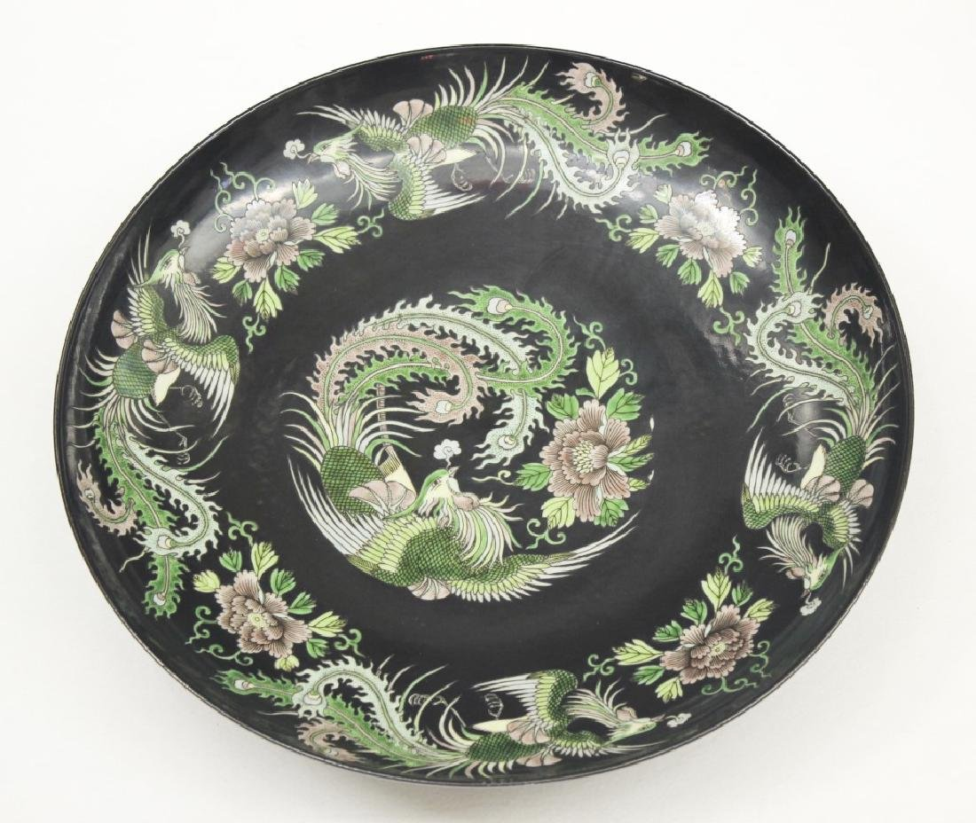 Pair of large Chinese dragon and phoenix plates - 2
