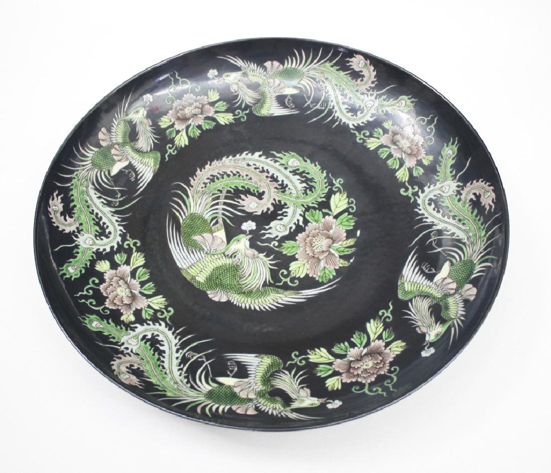 Pair of large Chinese dragon and phoenix plates - 3