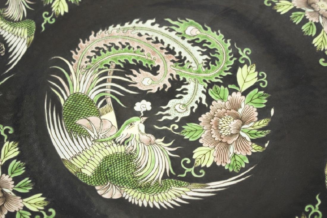 Pair of large Chinese dragon and phoenix plates - 4
