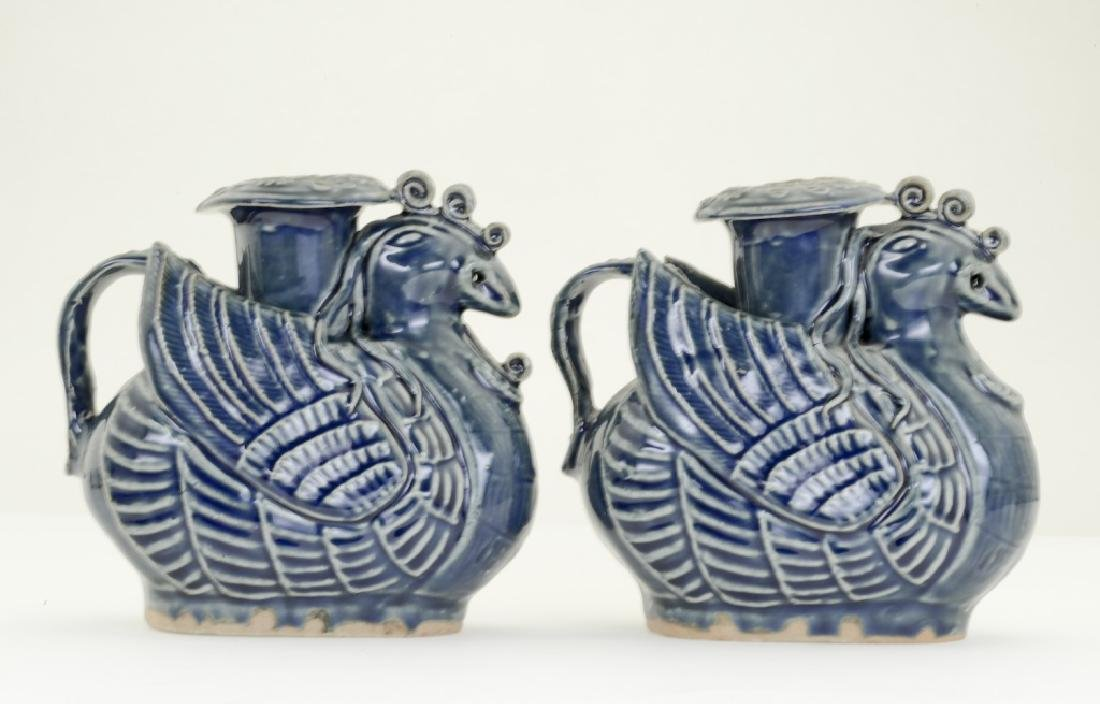 A pair Chinese bluish glazed candle- holders - 2