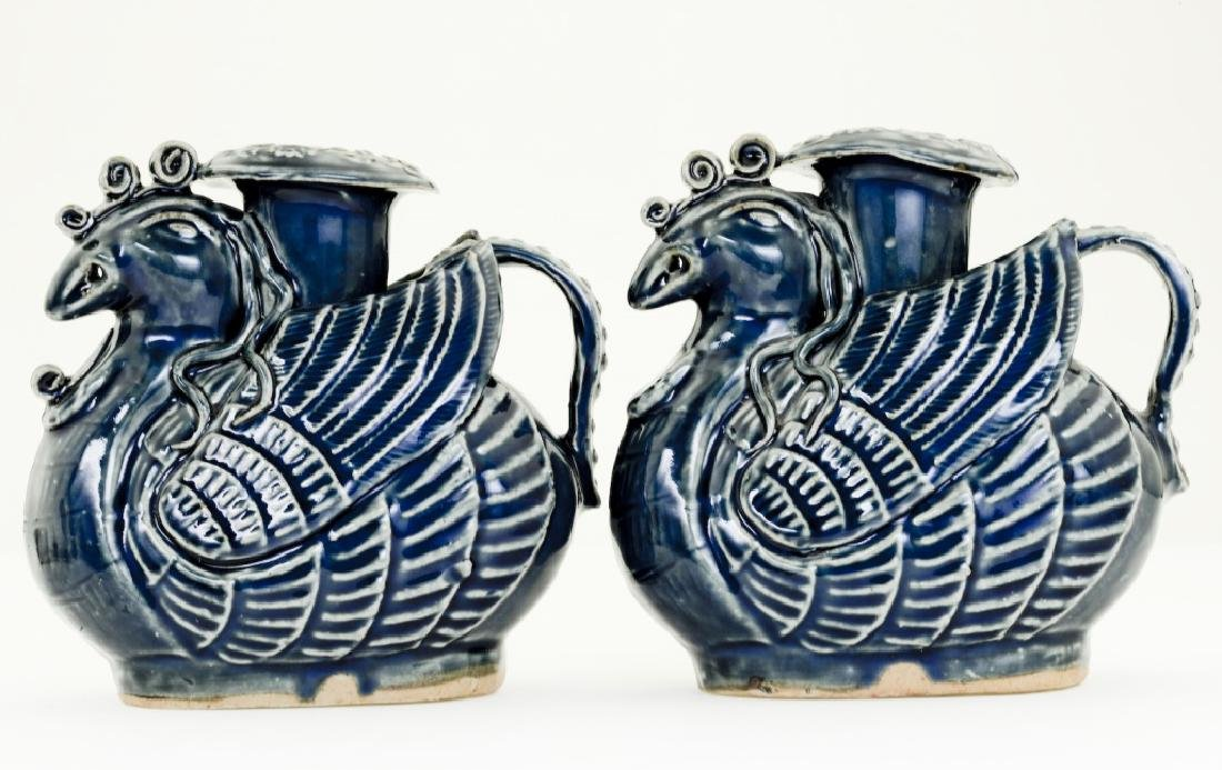 A pair Chinese bluish glazed candle- holders - 3